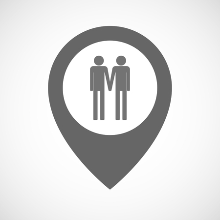gay couple: Illustration of an isolated map marker with a gay couple pictogram