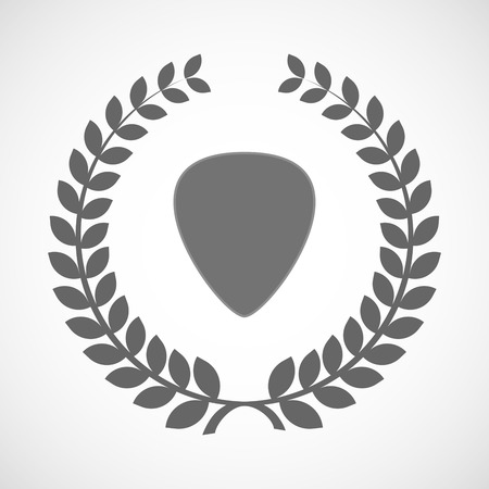 plectrum: Illustration of an isolated laurel wreath icon with a plectrum Illustration
