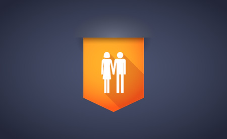 heterosexual couple: Illustration of a long shadow ribbon icon with a heterosexual couple pictogram