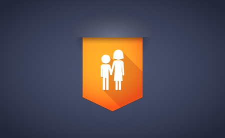 orphan: Illustration of a long shadow ribbon icon with a childhood pictogram