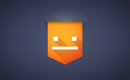 emotionless: Illustration of a long shadow ribbon icon with a emotionless text face