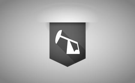 horsehead pump: Illustration of a long shadow ribbon icon with a horsehead pump