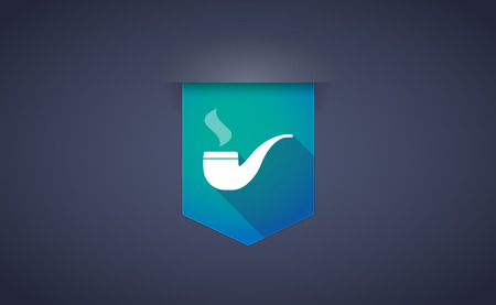 smoking pipe: Illustration of a long shadow ribbon icon with a smoking pipe Illustration