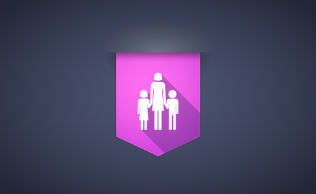 single parent: Illustration of a long shadow ribbon icon with a female single parent family pictogram