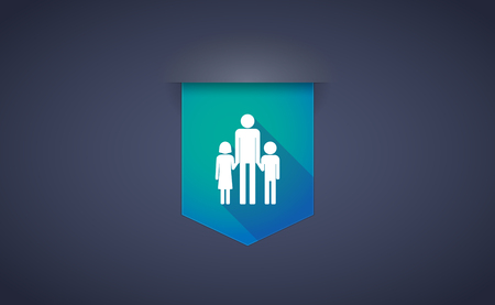 single parent: Illustration of a long shadow ribbon icon with a male single parent family pictogram