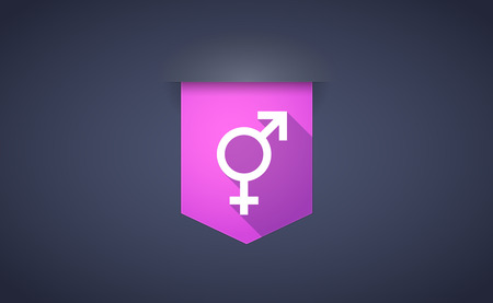 homosexual sex: Illustration of a long shadow ribbon icon with a bigender symbol Illustration