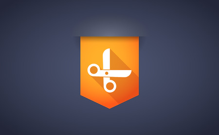 Illustration of a long shadow ribbon icon with a scissors