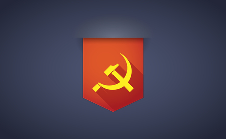 communist: Illustration of a long shadow ribbon icon with  the communist symbol