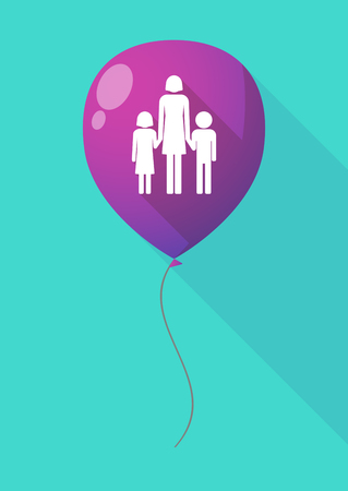 single parent: Illustration of a long shadow balloon with a female single parent family pictogram