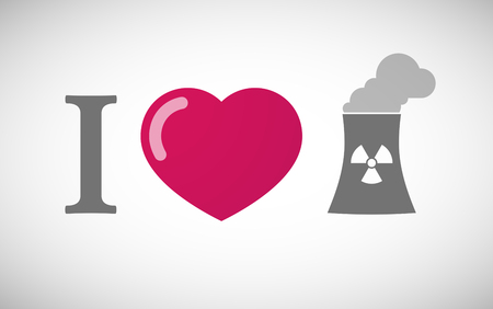 nuclear power station: Illustration of an I love hieroglyph with a nuclear power station