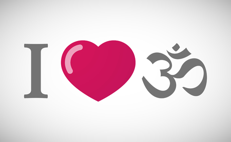 heart chakra red: Illustration of an I love hieroglyph with an om sign