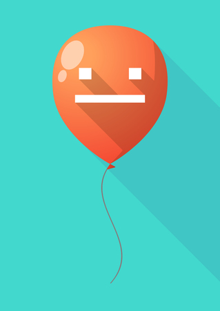 emotionless: Illustration of a long shadow balloon with a emotionless text face