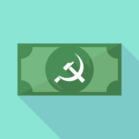 communist: Illustration of a long shadow banknote icon with  the communist symbol