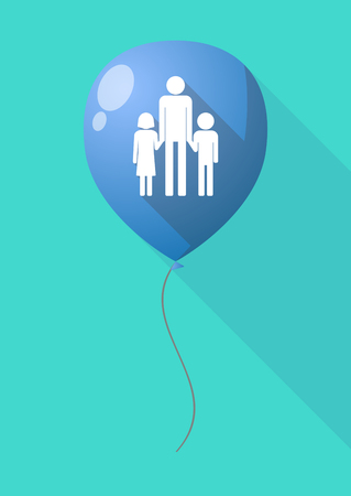 single parent: Illustration of a long shadow balloon with a male single parent family pictogram Illustration