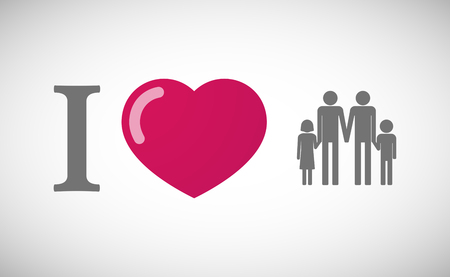 you figure: Illustration of an I love hieroglyph with a gay parents  family pictogram Illustration