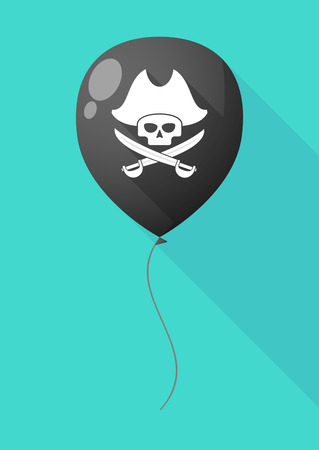 sabre: Illustration of a long shadow balloon with a pirate skull Illustration