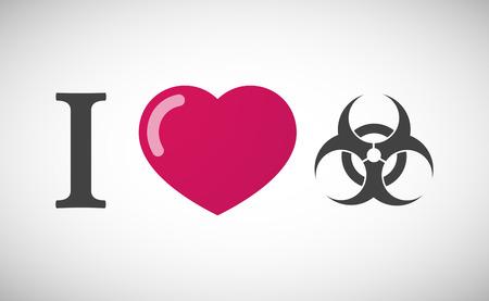 biohazard sign: Illustration of an I love hieroglyph with a biohazard sign Illustration