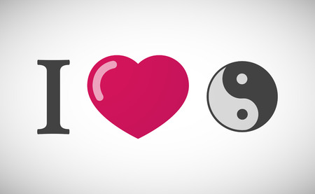 tao: Illustration of an I love hieroglyph with a ying yang Illustration