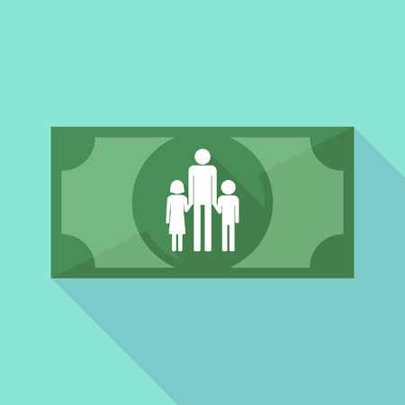 single family: Illustration of a long shadow banknote icon with a male single parent family pictogram