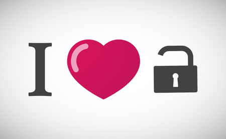 Illustration of an I love hieroglyph with an open lock pad