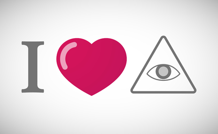 all seeing eye: Illustration of an I love hieroglyph with an all seeing eye Illustration