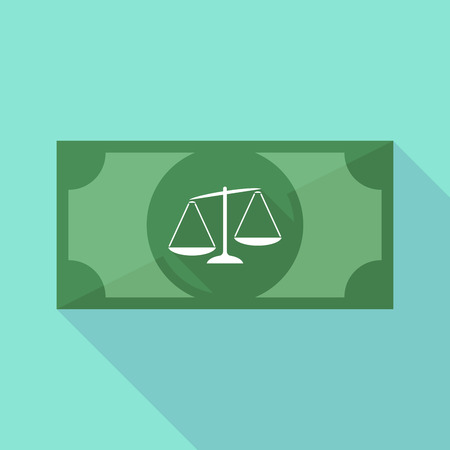 tribunal: Illustration of a long shadow banknote icon with  an unbalanced weight scale