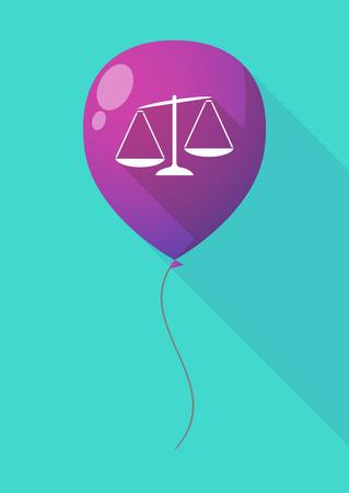 unbalanced: Illustration of a long shadow balloon with  an unbalanced weight scale Illustration