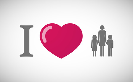 single parent: Illustration of an I love hieroglyph with a female single parent family pictogram