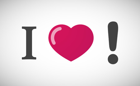 heart failure: Illustration of an I love hieroglyph with an exclamarion sign