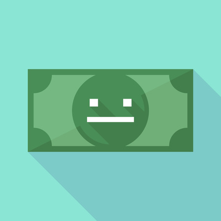 emotionless: Illustration of a long shadow banknote icon with a emotionless text face Illustration