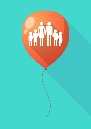 large family: Illustration of a long shadow balloon with a large family  pictogram