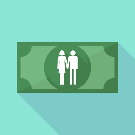 heterosexual: Illustration of a long shadow banknote icon with a heterosexual couple pictogram Illustration