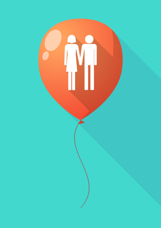 heterosexual couple: Illustration of a long shadow balloon with a heterosexual couple pictogram
