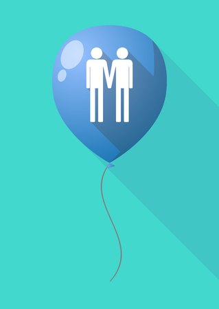 gay couple: Illustration of a long shadow balloon with a gay couple pictogram Illustration