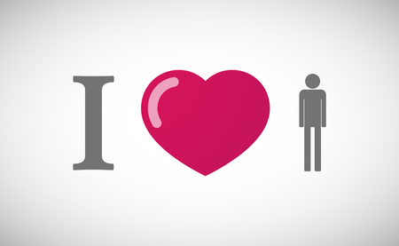 you figure: Illustration of an I love hieroglyph with a male pictogram