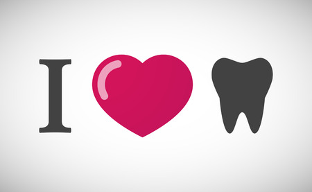 Illustration of an I love hieroglyph with a tooth