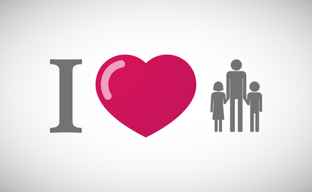 single family: Illustration of an I love hieroglyph with a male single parent family pictogram Illustration