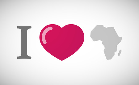 love couples: Illustration of an I love hieroglyph with  a map of the african continent Illustration