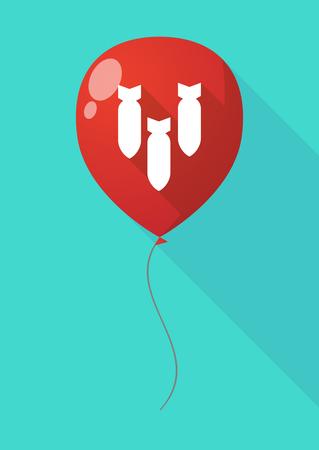 detonate: Illustration of a long shadow balloon with three bombs falling