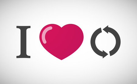passion  ecology: Illustration of an I love hieroglyph with a round recycle sign Illustration