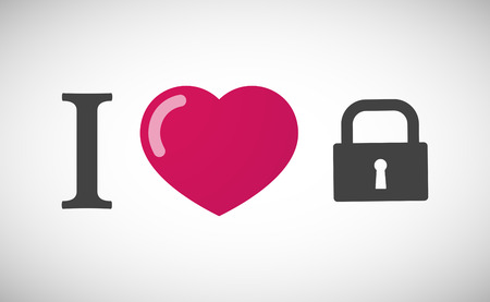 Illustration of an I love hieroglyph with a closed lock pad