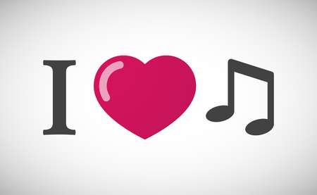 heart tone: Illustration of an I love hieroglyph with a note music
