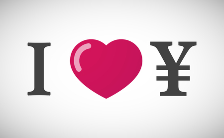 yen sign: Illustration of an I love hieroglyph with a yen sign Illustration