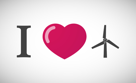 passion ecology: Illustration of an I love hieroglyph with a wind generator Illustration