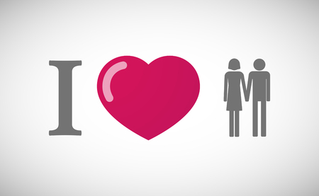 heterosexual: Illustration of an I love hieroglyph with a heterosexual couple pictogram Illustration