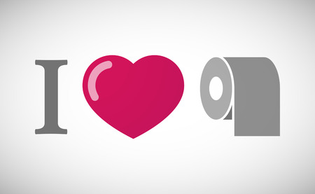 toilet roll: Illustration of an I love hieroglyph with a toilet paper roll