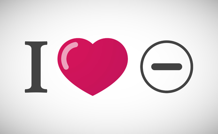 subtraction: Illustration of an I love hieroglyph with a subtraction sign
