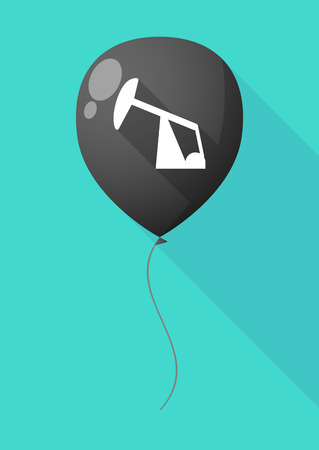 beam with joy: Illustration of a long shadow balloon with a horsehead pump Illustration