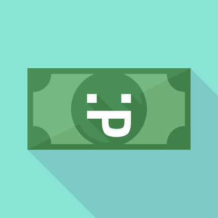 long tongue: Illustration of a long shadow banknote icon with a sticking out tongue text face Illustration