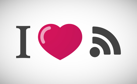 rss sign: Illustration of an I love hieroglyph with an RSS sign Illustration